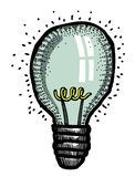 Cartoon image of Bulb Icon. Lamp symbol. An artistic freehand picture Stock Image
