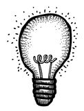 Cartoon image of Bulb Icon. Lamp symbol. An artistic freehand picture Stock Images