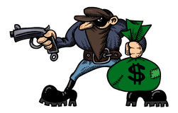 Cartoon image of burglar with loot bag Stock Images