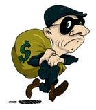 Cartoon image of burglar with loot bag Stock Photo