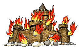 Cartoon image of burning castle. An artistic freehand picture Stock Image