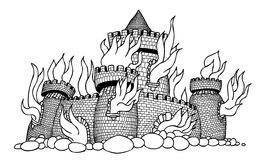 Cartoon image of burning castle. An artistic freehand picture Stock Images