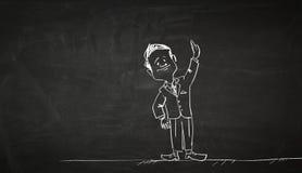 Cartoon image of business personage . Mixed media Stock Image