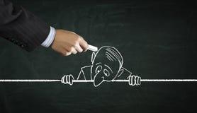 Cartoon image of business personage . Mixed media Stock Photo