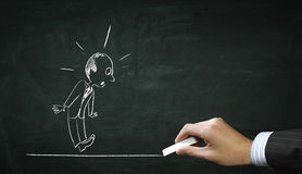 Cartoon image of business personage . Mixed media Stock Photos