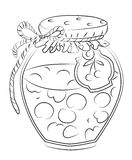 Cartoon image of cherry jam. An artistic freehand picture Royalty Free Stock Photography