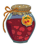 Cartoon image of cherry jam. An artistic freehand picture Royalty Free Stock Image