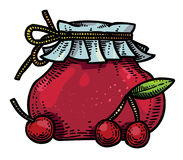Cartoon image of cherry jam. An artistic freehand picture Royalty Free Stock Photos