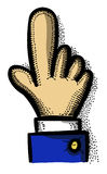 Cartoon image of Click Icon. Hand pointer symbol. An artistic freehand picture Stock Photo
