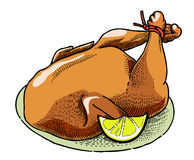 Cartoon image of cooked turkey. An artistic freehand picture Stock Photos