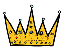 Cartoon image of Crown Icon. Crown symbol. An artistic freehand picture Stock Photos