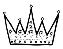 Cartoon image of Crown Icon. Crown symbol. An artistic freehand picture Stock Images