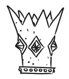Cartoon image of Crown Icon. Crown symbol. An artistic freehand picture Stock Image
