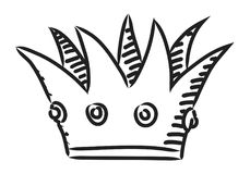Cartoon image of Crown Icon. Crown symbol. An artistic freehand picture Royalty Free Stock Photo