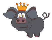 Cartoon image of crowned pig Royalty Free Stock Images