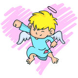 Cartoon image of cute little cupid with yellow hair Royalty Free Stock Photos