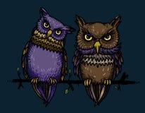 Cartoon image of cute owls Stock Photos