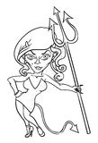 Cartoon image of devil girl. An artistic freehand picture Royalty Free Stock Photo