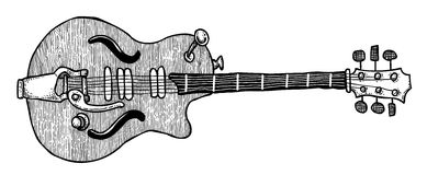 Cartoon image of electric guitar Royalty Free Stock Image