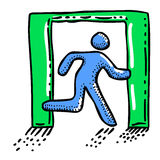 Cartoon image of Exit Icon. Leave symbol. An artistic freehand picture Stock Image