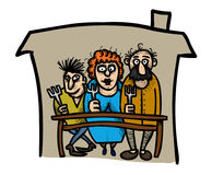Cartoon image of Family Icon. Family at house symbol Royalty Free Stock Photography