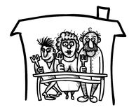 Cartoon image of Family Icon. Family at house symbol Royalty Free Stock Image