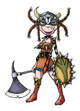 Cartoon image of female viking stock illustration