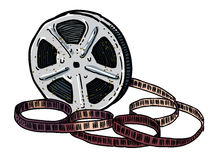 Cartoon image of Film reel. An artistic freehand picture Stock Image