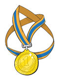 Cartoon image of first place medal. An artistic freehand picture Royalty Free Stock Photography