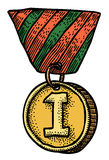 Cartoon image of first place medal. An artistic freehand picture Stock Photo