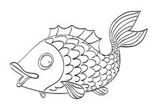 Cartoon image of fish. An artistic freehand picture Royalty Free Stock Photo