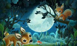 Cartoon image with forest animals by night squirrel fox owl deer - illustration