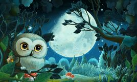Cartoon image with forest by night - illustration for kids