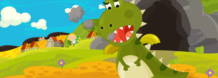 Cartoon image with green dragon being angry because of stomach pain Stock Photography