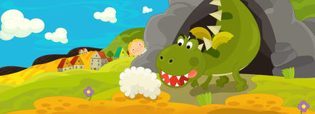 Cartoon image with green dragon being angry because of stomach pain Stock Photos