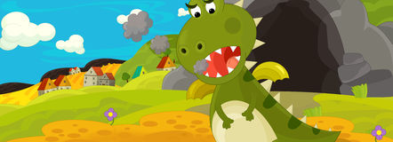 Cartoon image with green dragon Royalty Free Stock Photography