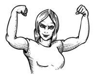 Cartoon image of gym woman Royalty Free Stock Image