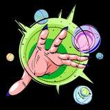 Cartoon image of hand casting spell Royalty Free Stock Photos