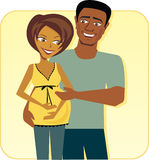 Cartoon image of Happy Pregnant Couple Stock Photos