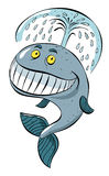 Cartoon image of happy whale. An artistic freehand picture Stock Photo