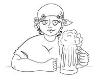 Cartoon image of hard working woman with beer Royalty Free Stock Image