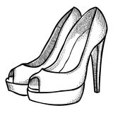 Cartoon image of high heeled shoes. An artistic freehand picture Stock Image