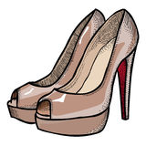 Cartoon image of high heeled shoes. An artistic freehand picture Royalty Free Stock Photo