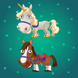 Cartoon image of the horse and the unicorn. On a star green background Royalty Free Stock Photo