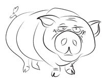 Cartoon image of huge pig Stock Photography
