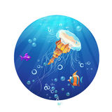 Cartoon image of a jellyfish and sea fish.  Stock Photography