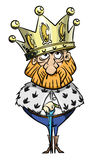 Cartoon image of king with huge crown Stock Image