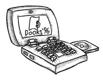 Cartoon image of laptop computer. An artistic freehand picture Vector Illustration