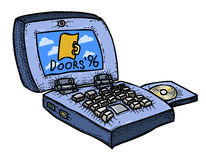 Cartoon image of laptop computer. An artistic freehand picture Royalty Free Illustration