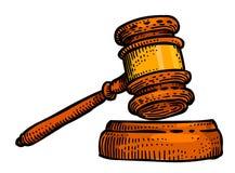 Cartoon image of Law Icon. Judge Gavel symbol Stock Images